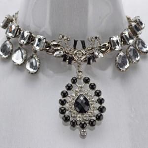 New european style black gem rhinestone square crystal drop gun-black chain choker necklace N-3093