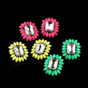 E-2133 New  Arrival Fashion European Charming Fluorescence Color Resin Gem Crystal Square Ear Stud Earrings