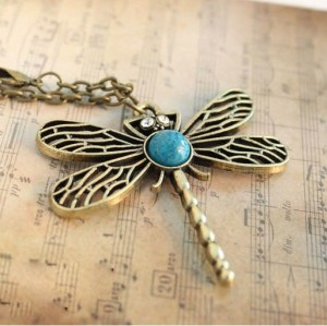 N-2611Vintage Trend fashion dragonfly pendant necklace long jewelry for women