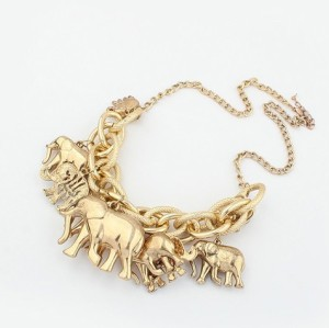 N-3421New european style gold plated alloy link chain elephant pendant necklace