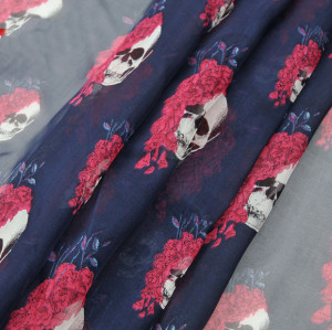 C-0061 Korea fashion styles  chiffon skull rose flower square scarves shawl