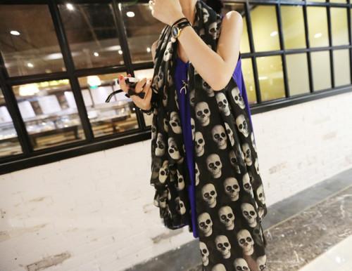 C-0060 Korea fashion styles black chiffon 3D skull head flower square tassels scarves shawl