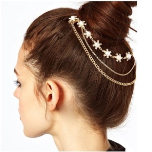 F-0123 Europe style golden pearl rhinestone chains glower tassels hair combs