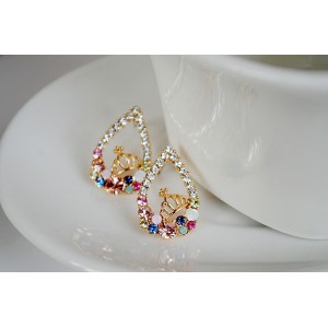 E-2130 New  Arrival Fashion Charming Colorful Rhinestone Gold Plated Drop Crown Ear Stud Earrings
