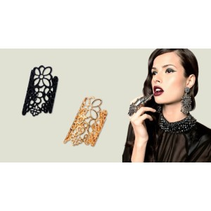 R-1096 New Fashion Gold/Black  Plated Alloy Hollow Out  Flower Ring 2pcs/set