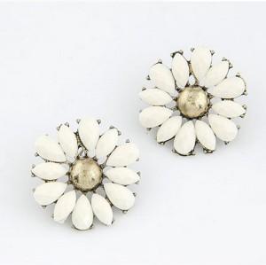E-2136 korea style bronze alloy white resin gem sun flower stud earrings