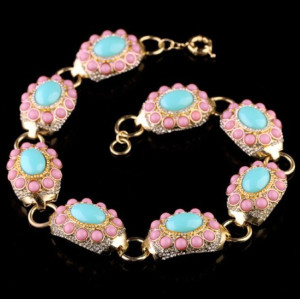 S-0081 European  Style  Gold Plated Alloy Rhinestone Pink Blue Resin Gem Choker Necklace Bracelet Set