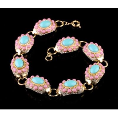 S-0081 European  Style  Gold Plated Alloy Rhinestone Pink Blue Resin Gem Choker Necklace Bracelet Set