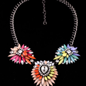 New Arrival Jewelry Colorful Acrylic Flower Statement Choker Necklaces N-3036