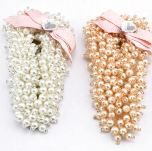 F-0126 Fashion korea style lovely pure small white/pink simulating-pearl bowknot hair clip