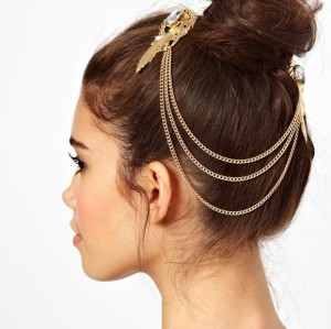 F-0125 Fashion European Gold Plated Metal Feather Charming Crystal Tassels Hair Clips