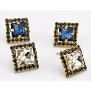E-2317 New Arrival Charming Rhinestone Crystal Square Ear Stud Earrings