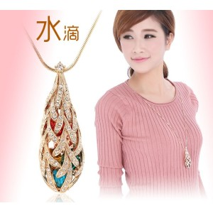 N-2382 New Arrival Charming Gold Plated Metal Rhinestone Colorful  Crystal Hollow Out Drop Pendant Necklace