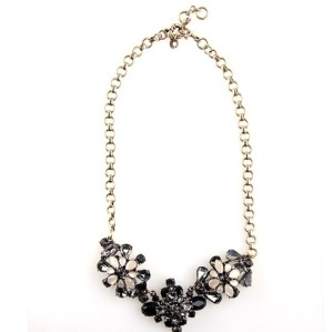 N-3111 New Arrival  Vintage Style Metal Rhinestone Crystal Flower Pendant Statement Necklace