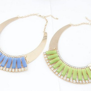 N-4280 New Arrival Korea Style Gold Plated Metal Rhinestone Geometry Gem Sector Pendant Necklace