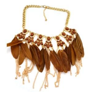 N-1256 Bohemian Style Golden Chunky Beads Chain Feather Tassel Choker Bib Neklace