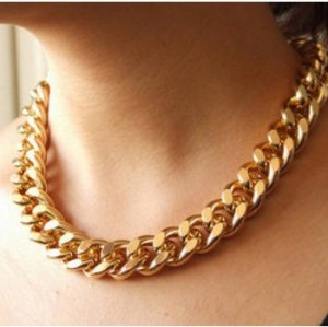 N-1634 New Arrival Fashion Punk Gold Plated CCB Flat Snake Chain Necklace