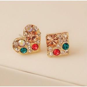 E-1218 New Arrival  Korea Style Colorful Rhinestone Square Heart Ear Stud Earrings