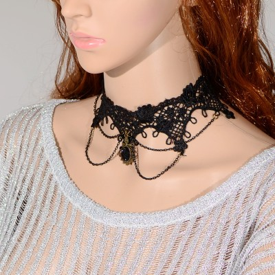 N-1639 New Gothic Black needle lace Hollow Out Flower chain tassels rhinestone gem Pendant Necklace