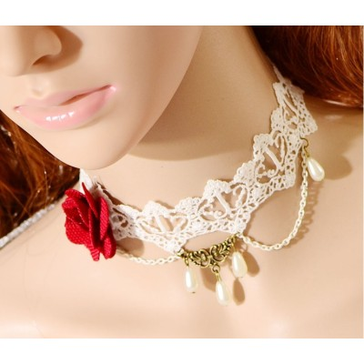 S-0085 New Gothic Lovely White Hollow Out Lace Red Flower Drop Pendant Necklace Bracelet Set