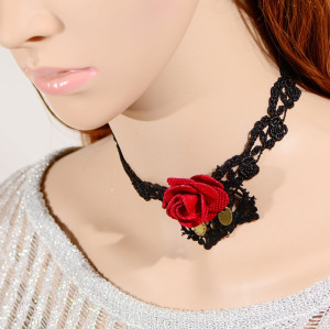 S-0087 New Gothic Black Hollow Out Lace Flower Chain Red Flower Pendant Necklace Bracelet Set
