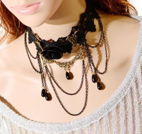 S-0086 New Gothic Black Hollow Out Lace Big Flower Chain Tassels Drop Pendant Necklace Bracelet Set