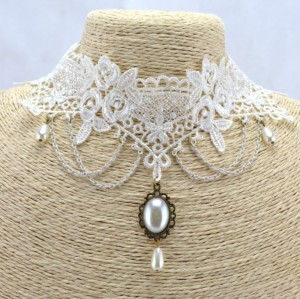 New Retro style Gothic white lace Flower Faux Pearl necklace bracelets ring S-0075