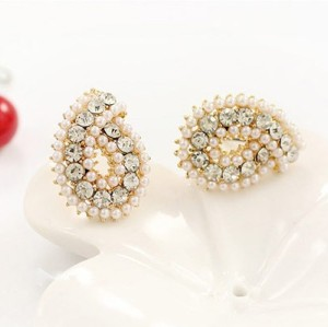 E-2140 New Arrival  Fashion Charming Full Rhinestone Pearl Drop Ear Stud Earrings