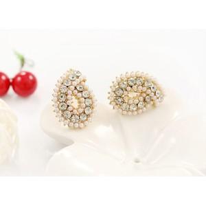 E-2140 New Arrival  Fashion Charming Full Rhinestone Pearl Drop Ear Stud Earrings