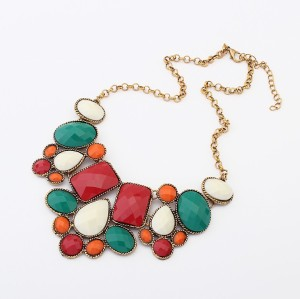 N-3122 New Arrival Fashion Europe Style Colorful Resin Gem Pendant Necklace