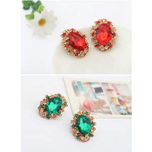 E-2141 New Arrival  Vintage Style European Charming Gold Plated Metal Big Crystal Gem Ear Stud Earrings