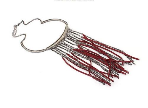N-3120 New Arrival Fashion Bohemia Style Gun Black Metal Chain tassels leather choker Necklace