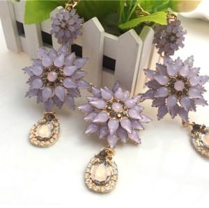 N-3121 New Arrival Extravagant Fashion Charming Light Purple Crystal Flower Drop Pendant choker Necklace