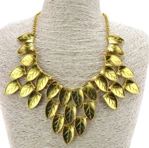 N-3123 New Arrival European Vintage Gold Metal Lovely Leaves Pendant Necklace