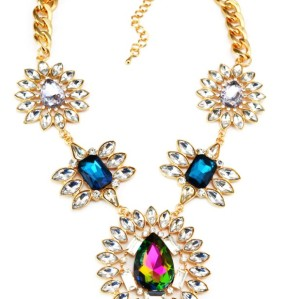 N-3125 New Arrival European Fashion Charming Gold Plated Metal Colorful  Crystal Flower Pendant Necklace