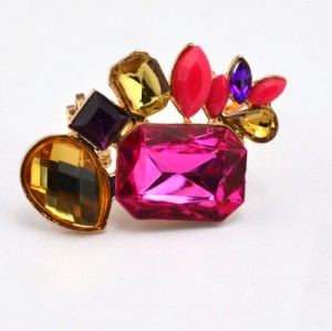 E-2143 New Arrival  European Charming Gold Plated Metal Big Crystal Gem Ear Cuff
