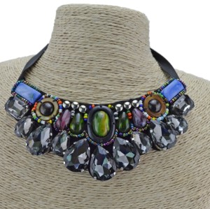 N-2384 New Arrival European Colorful Beads Stone Drop Crystal Collar Pendant  Necklace