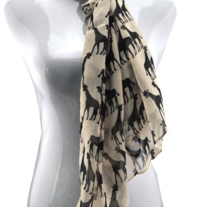 C-0064 Fashion Lovely Double Giraffe Design Chiffon Scarves Shawl 3Colors For Choose