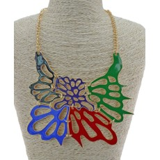 N-3424 New Arrival European Enamel Hollow Out Butterfly Pendant  Necklace