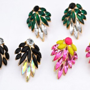 E-1694 New Arrival Koea Style Charming Gold Plated Metal Crystal Flower Ear Stud Earrings