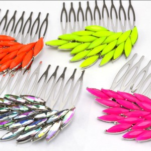 F-0128Fashion Charming Fluorescence Color Resin Crystal Feather Wing Hair  Combs