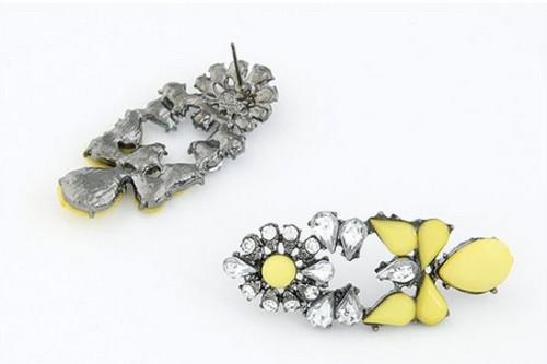 E-1695 New Arrival Koea Style Gun Black Metal Resin Gem Crystal Flower Drop  Ear Stud Earrings