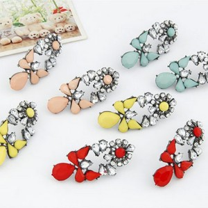 E-1695 New Arrival Koea Style Gun Black Metal Resin Gem Crystal Flower Drop  Ear Stud Earrings
