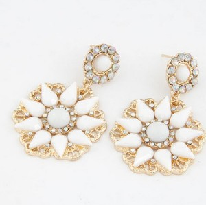E-0694 New Arrival Koea Style Gold Plated Metal Resin Gem Rhinestone Flower Dangle Ear Stud Earrings
