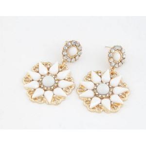 E-0694 New Arrival Koea Style Gold Plated Metal Resin Gem Rhinestone Flower Dangle Ear Stud Earrings