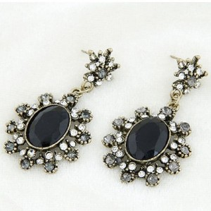 E-2144 New Arrival Vintage Style Bronze Metal Black Resin Gem Rhiestone Flower Ear Stud Earrings