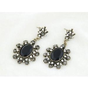 E-2144 New Arrival Vintage Style Bronze Metal Black Resin Gem Rhiestone Flower Ear Stud Earrings