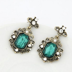 E-2145 New Arrival Vintage Style Bronze Metal  Rhinestone Green Square Crystal Ear Stud Earrings