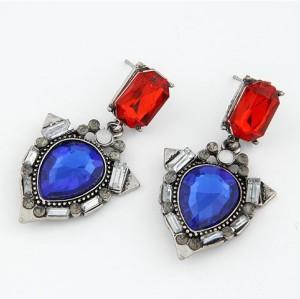 E-1696 New Arrival Vintage Style Gun Black Metal Red/Blue Crystal Dangle Ear Stud Earrings