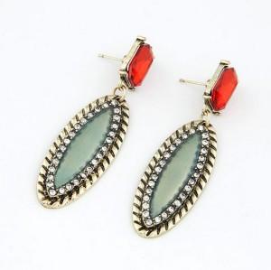 E-1697 New Arrival Vintage Style Bronze Alloy Rhinestone Crystal Enamel Leaf Ear Stud Earrings